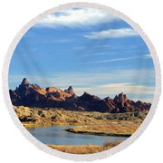 Round Beach Towel featuring the photograph Route 66 Needles Mtn Range Two  Sold by Antonia Citrino