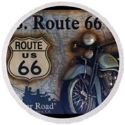 Route 66 Odell Il Gas Station Motorcycle Signage Round Beach Towel