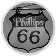 Route 66 - Phillips 66 Petroleum Round Beach Towel by Frank Romeo
