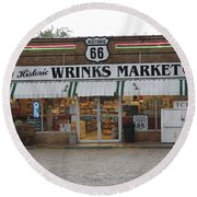 Route 66 - Wrink's Market Round Beach Towel by Frank Romeo