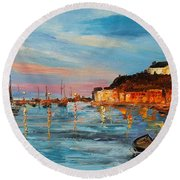 Rovanij Harbour Round Beach Towel