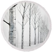 Row Of Birch Trees In The Snow Round Beach Towel
