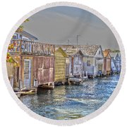 Row Of Boathouses Round Beach Towel