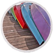 Round Beach Towel featuring the photograph Row Of Colorful Boats Art Prints by Valerie Garner
