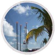 Row Of Sailboats Round Beach Towel