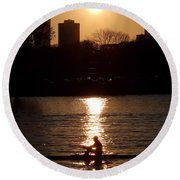Rower Sunrise Round Beach Towel by Kenny Glotfelty