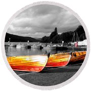 Rowing Boats Ready For Work Round Beach Towel