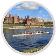 Rowing On The Thames At Hampton Court Round Beach Towel