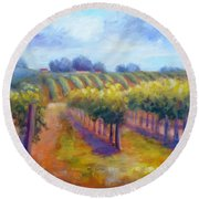 Rows Of Vines Round Beach Towel