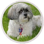 Round Beach Towel featuring the photograph Roxey Glamour by Arthur Fix
