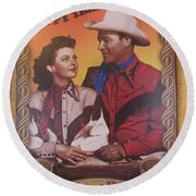 Roy And Dale Round Beach Towel by Donna Brown