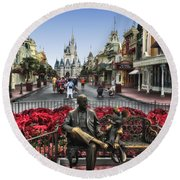 Roy And Minnie Mouse Walt Disney World Round Beach Towel by Thomas Woolworth