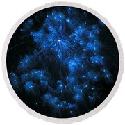 Royal Blue Fireworks Round Beach Towel by Joseph Baril