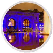 Royal Blue Reflections Union Station Round Beach Towel