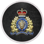 Royal Canadian Mounted Police - Rcmp Badge On Black Leather Round Beach Towel
