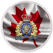 Royal Canadian Mounted Police - Rcmp Badge Over Waving Flag Round Beach Towel