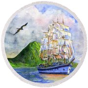 Royal Clipper Leaving St. Lucia Round Beach Towel