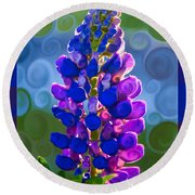 Royal Purple Lupine Flower Abstract Art Round Beach Towel