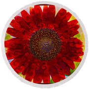 Royal Red Sunflower Round Beach Towel