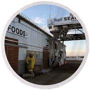 Royal Seafoods Monterey Round Beach Towel