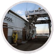 Round Beach Towel featuring the photograph Royal Seafoods Monterey by James B Toy