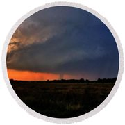 Round Beach Towel featuring the photograph Rozel Tornado by Ed Sweeney