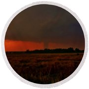 Round Beach Towel featuring the photograph Rozel Tornado On The Horizon by Ed Sweeney
