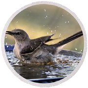Rub-a-dub-dub Mockingbird Round Beach Towel by Nava Thompson