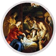 Rubens Adoration Round Beach Towel