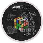 Rubik's Cube Patent 3 Round Beach Towel