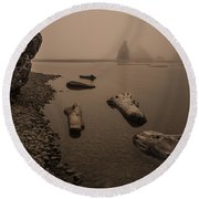 Ruby Beach Fog Round Beach Towel