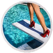 Ruby Heels Ready For Take-off Palm Springs Round Beach Towel