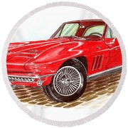 Ruby Red 1966 Corvette Stingray Fastback Round Beach Towel by Jack Pumphrey