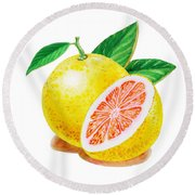 Ruby Red Grapefruit Round Beach Towel by Irina Sztukowski