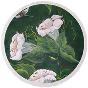 Round Beach Towel featuring the painting Hummingbird And Lilies by Sharon Duguay