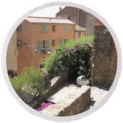 Rue De La Rose Round Beach Towel