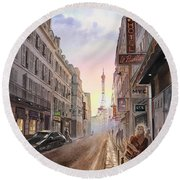 Rue Saint Dominique Sunset Through Eiffel Tower   Round Beach Towel