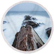 Rugged Coastal Landscape At Montana De Round Beach Towel