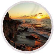 Round Beach Towel featuring the photograph Rugged Shore Fall by James Peterson