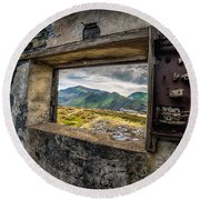 Ruin With A View  Round Beach Towel