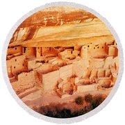 Ruins, Cliff Palace, Mesa Verde Round Beach Towel