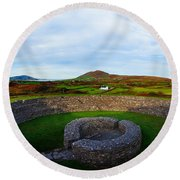Ruins Of A Fort, Cahergall Stone Fort Round Beach Towel