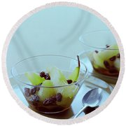 Rum Raisin Poached Pears Round Beach Towel