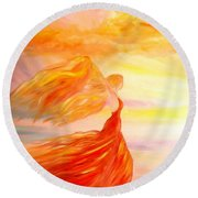 Round Beach Towel featuring the painting Running Along The Beach by Lilia D