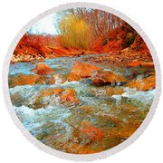 Running Creek 2 By Christopher Shellhammer Round Beach Towel