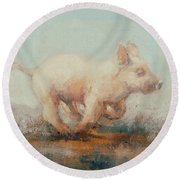 Running Piglet Round Beach Towel by Ellie O Shea