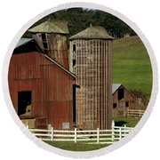 Rural Barn Round Beach Towel