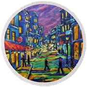 Rural City Scape By Prankearts Round Beach Towel