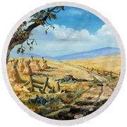 Rural Farmland Americana Folk Art Autumn Harvest Ranch Round Beach Towel