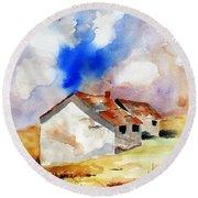 Rural Houses And Dramatic Sky Round Beach Towel by Carlin Blahnik